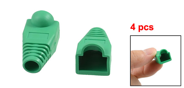 4 Pcs Green Plastic Network Cable Boot Cap Cover for RJ-45 Connectors