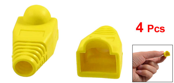 4 Pcs Yellow Plastic Network Cable Boot Cap Cover for RJ-45 Connectors