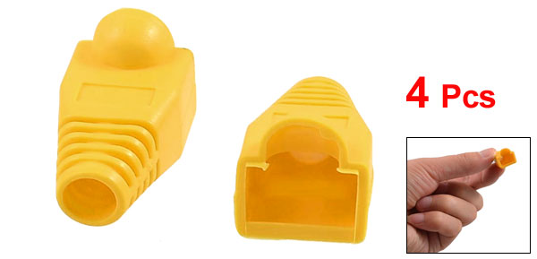 4 Pcs Orange Plastic Network Cable Boot Cap Cover for RJ-45 Connectors