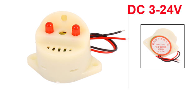 DC3-24V Industrial Discontinuous Sound Electronic Alarm Buzzer 85dB White