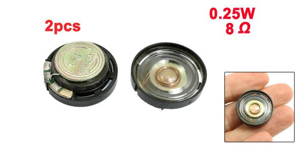 21mm External Magnetic Type Round Slim Plastic Shell Speaker 8 Ohm 0.25W 2 Pcs