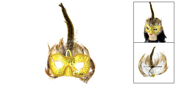 Ladies Yellow Paillettes Faux Feathers Ornament Halloween Party Eyes Mask