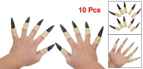 10 Pcs Black Peachpuff Halloween Witch Vampire Fingernails