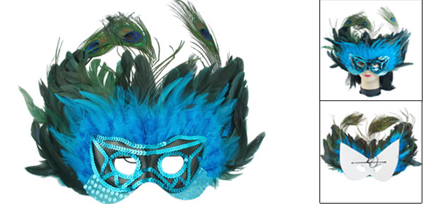 Women Blue Sequins Faux Peacock Feather Decor Halloween Party Eyes Mask