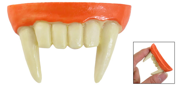 Adult Halloween Plastic Beige Orange Horrible Vampire Teeth