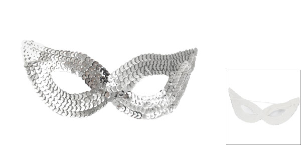 Ladies Stretchy Cord Silver Tone Paillettes Decor Halloween Party Eyes Mask