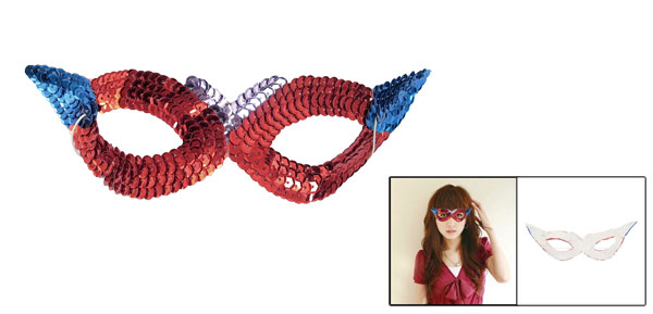 Ladies Stretchy Cord Red Blue Sequin Decor Halloween Party Eyes Mask