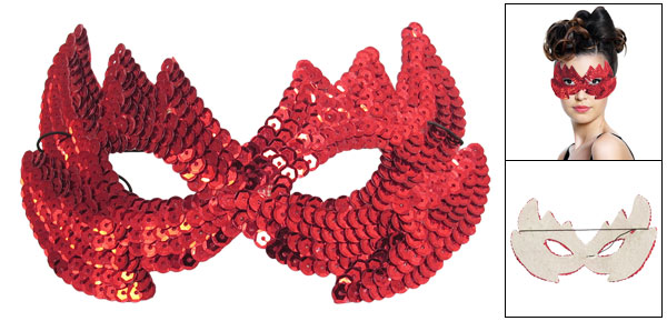 Ladies Stretchy Cord Red Paillettes Decor Halloween Party Eyes Mask
