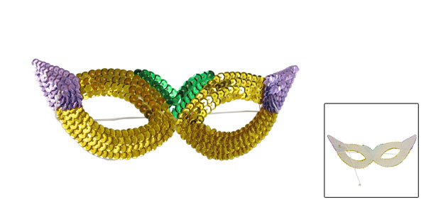 Ladies Stretchy Cord Yellow Purple Sequin Decor Halloween Party Eyes Mask