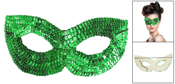 Ladies Stretchy Cord Green Paillettes Decor Halloween Party Eyes Mask