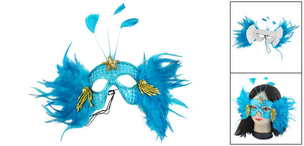 Lady Faux Feathers Star Decor Stretchy Cord Blue Party Eyes Mask Halloween