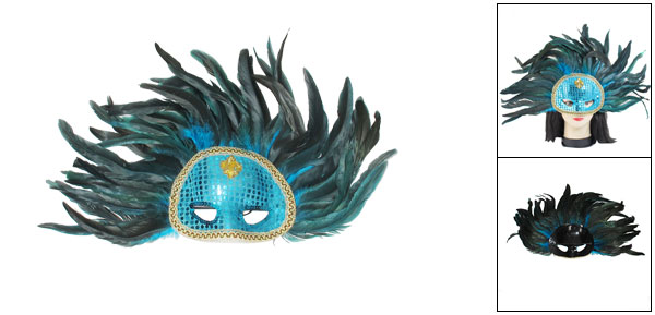 Ladies Blue Paillette Faux Feathers Ornament Halloween Party Eyes Mask