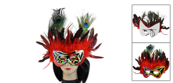 Women Red Sequins Faux Peacock Feather Decor Halloween Party Eyes Mask