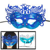 Woman Blue Powder Covered Plastic Masquerade Party Mask w Black S...