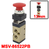 "MSV-86522PB 1/4"" PT 2/5 Way Momentary Red Mushroom Button Air Mec..."