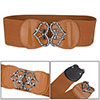 Ladies Faux Rhinestone Bowknot Buckle Stretch Waist Belt Cinch Br...