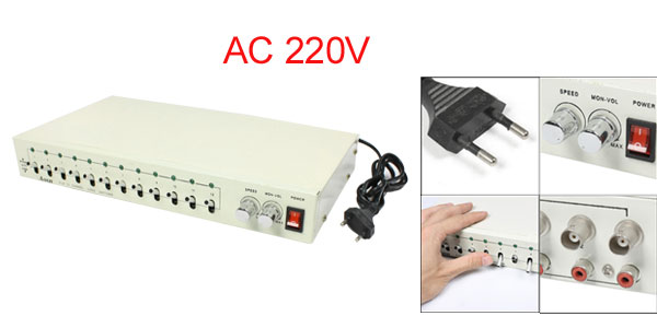 AC 220V CCTV Camera 12 Channel BNC Male Video Router Switch Off White