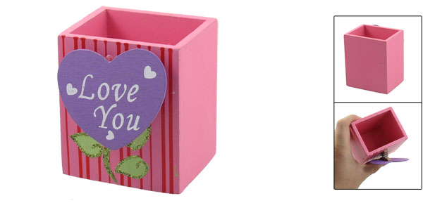 Purple Heart Memo Clip Stripes Print Pink Wooden Pen Pencil Holder