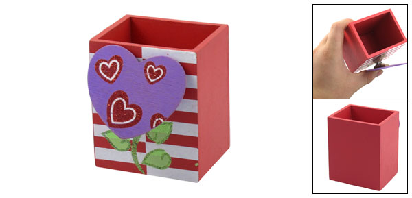 Purple Heart Memo Clip Leaf Print Wooden Pen Pencil Holder Red