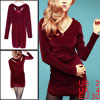Ladies Claret Red Long Sleeves Cut Out Stretchy Skinny Dress XS