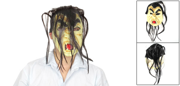 Yellow Rubber Black Hair Zombie Face Mask for Adult