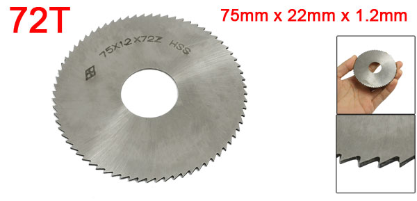 Silver Tone HSS 72 Tooth 75mm x 22mm x 1.2mm Slitting Saw Tool