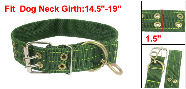 Punch Hole Adjustable Green Strap Collar for Pet Dog