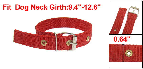 Metal Buckle Guardian Red Nylon Pet Dog Adjustable Collar 18.9
