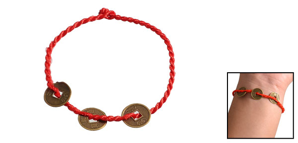 Handcrafted Copper Coin Decor Red Nylon String Bracelet Ankle Chain