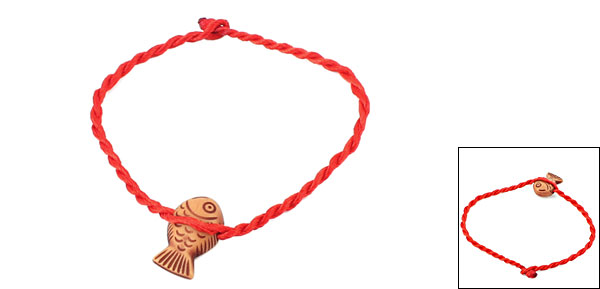 Red Woven String Mini Fish Shape Decorated Bracelet Anklet