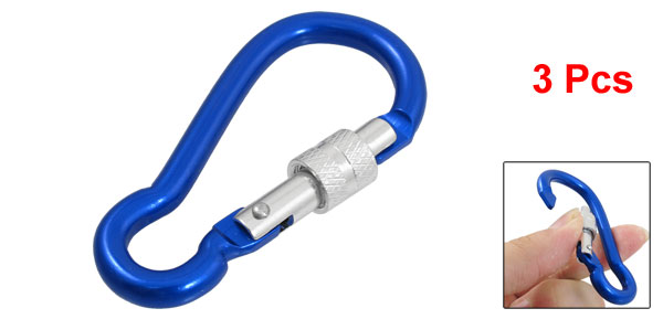 3 Pcs Blue Aluminum Alloy Locking Outdoor Carabiner Hook Keychain 7cm