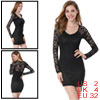 Allegra K Women V Neck Long Sleeve Solid Color Sexy Mini Dress Bl...