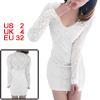 Ladies White Long Sleeve Semi Sheer Form-fitting Hot Mini Dress X...