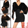 Lady Black Deep V Neck Semi Sheer Dolman Long Sleeves Dress XS