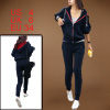 Long Dark Blue Sleeve Slant Zipper Trimed Decor Women Hoodie Outwear w Pants S