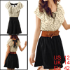 Women Dots Print Elastic Waist Mini Dress w Belt Black Beige L