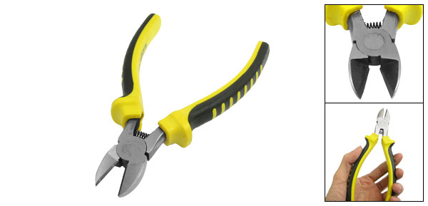 Yellow Black Plastic Coated Grips Side Cutting Pliers Hand Tool 6.5