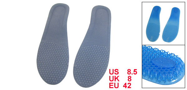 Pair Nest Design Soft Silicone Men Massage Insoles Food Pad Gray Blue