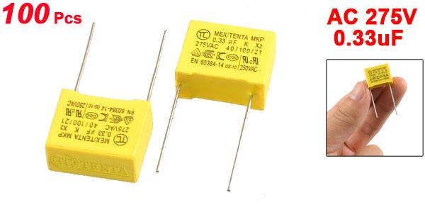 100 Pcs 0.33uF 275V AC Safety Polypropylene Film Capacitors