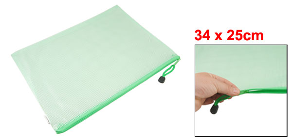 Office   Grid Design Water Resistant A4 Paper File Bags Green Clear
