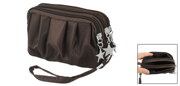 Coffee Color Drape Pattern Zip Up Stars Decoration Pouch Purse Bag for Lady