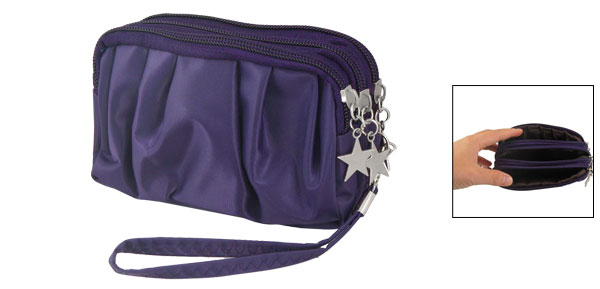 Lady Dark Purple Drape Zipped Metal Star Decor Handbag Pouch Purse