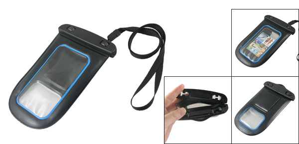 Plastic Waterproof Pouch Bag Black for MP5 MP4 Cell Phone