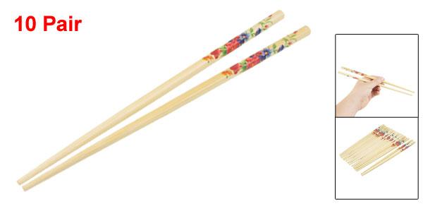 20 x Green Purple Magenta Floral Pattern Kitchen Round Tip Wooden Chopsticks