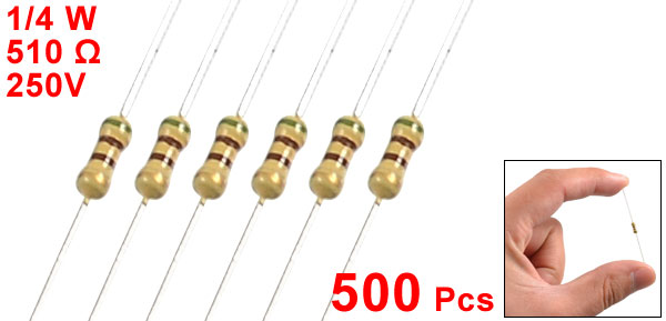 500 Pcs 250V 1/4W Watt 510 Ohm 5% Axial Carbon Film Resistor
