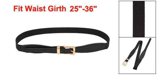 Ladies Women Litchi Pattern Adjustable Orange Elastic Waist Belt Black 27.5-33