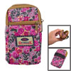 Fuchsia Floral Print Elastic Wristband 2 Pockets Zip up Phone Wrist Bag Pouch