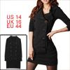 Ladies Double Breast Black Long Sleeve Spring Mini Dress L