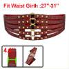Crocodile Pattern Metal Stud Accent Ladies Red Elastic Waist Belt...