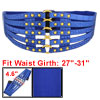 Crocodile Pattern Metal Stud Accent Ladies Blue Elastic Waist Bel...